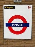 Pinner London Underground Metropolitan railway roundel sign stock image