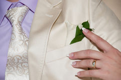 Pinning the Groom with boutonniere flowers before wedding ceremo Stock Image