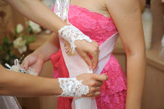 Pinning Wedding Ribbon Stock Images
