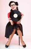Pino-acima análogo da menina do registro de Phonography retro foto de stock royalty free