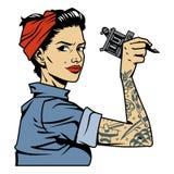 Pino atrativo do tattooist do vintage acima da menina ilustração royalty free