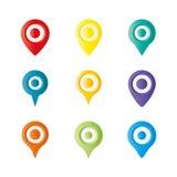 Pino colorido do mapeamento, pino da gota, pino, pino do lugar no fundo branco Ilustração do vetor Imagem de Stock