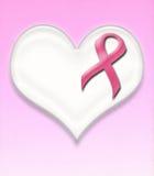 Pino da fita do rosa do câncer da mama do apoio no coração foto de stock royalty free