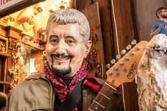 Pino Daniele, Famous Musician Artist born in Naples. The art of Neapolitan nativity of S. Gregorio Armeno, S. Gregorio Armeno is a small street in the old town Royalty Free Stock Photos