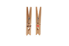 Pino de roupa de madeira com trajeto Fotografia de Stock