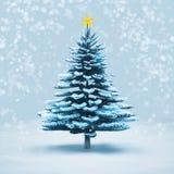 Pino del árbol de navidad de la nieve de la vista delantera aislado imagenes de archivo