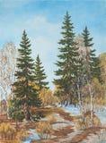 Pino del paisaje de la primavera y árboles de abedules Pintura al óleo original imágenes de archivo libres de regalías