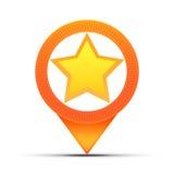 Pino do mapa de posição da estrela Fotos de Stock Royalty Free