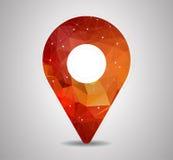 Pino do polígono com vetor do ícone do mapa Imagens de Stock