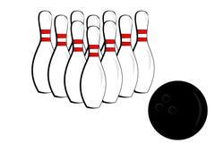 Pino e esfera de bowling Fotografia de Stock Royalty Free