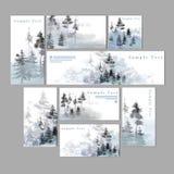 Pino Forest Label y colección de la plantilla de la tarjeta libre illustration