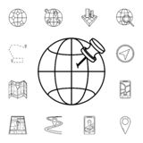 pino no ícone do globo Grupo detalhado de ícones da navegação Projeto gráfico superior Um dos ícones da coleção para Web site, We ilustração stock
