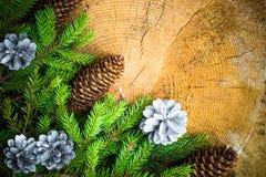 Pino spruce del árbol de navidad de madera Imagenes de archivo