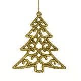 Pino y accesorios de la Navidad, colgando sobre el fondo blanco Fotografía de archivo