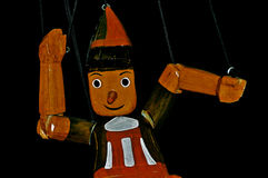 Pinocchio. The famous italian wooden puppet with long nose stock photography