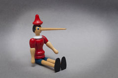 Pinocchio with big nose. Pinocchio liar with big nose Royalty Free Stock Photo