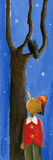 Pinocchio, bird and tree. Acrylic illustration of Pinocchio, bird and tree stock illustration