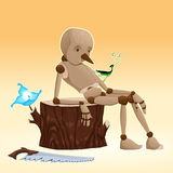 Pinocchio. Cartoon and vector illustration Stock Images