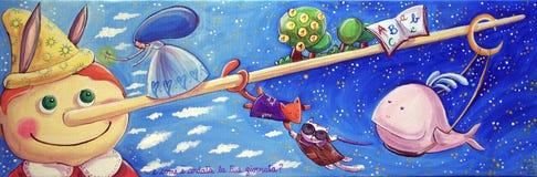Pinocchio con il fatato, il gatto, il Fox e la balena Fotografia Stock Libera da Diritti