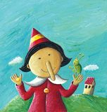 Pinocchio with Cricket and gold coin in hands. Acrylic illustration of Pinocchio with Cricket and gold coin in hands Royalty Free Stock Photos