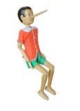 Pinocchio de madera, Pinokio en un blanco, Buratino Fotos de archivo libres de regalías
