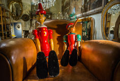 Pinocchio - fader och son Arkivfoton