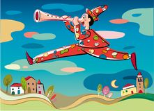 Pinocchio in a fantastic landscape. Pinocchio, the puppet with a leap flying over a village, playing his nose like a flute Stock Photos