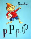 Pinocchio Goes To School. Pinocchio is happily going to school with a book under his arm Stock Photos