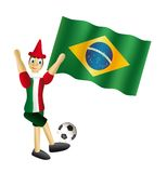 Pinocchio italy. Wooden puppet vector iitaly dressed on background brazilian  flag Stock Photography