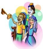 Pinocchio med dina vänner på en kulör bakgrund stock illustrationer