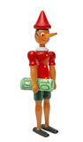Pinocchio med 100 euro, träleksak Royaltyfria Bilder