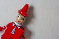 Pinocchio, portrait. Pinocchio puppet, toy doll. Marionette Stock Image