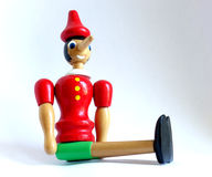 Pinocchio puppet. Pinocchio is the protagonist of the famous novel for kids Pinocchio`s adventures. History of a puppet by Carlo Lorenzini called Collodi. In the stock images