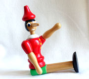 Pinocchio puppet. Pinocchio is the protagonist of the famous novel for kids Pinocchio`s adventures. History of a puppet by Carlo Lorenzini called Collodi. In the stock photo