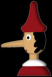 Pinocchio with red hat. Illustration of the famous italian wooden puppet with long nose stock illustration
