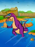 Pinocchio Rex on the river background. Vector illustration Royalty Free Stock Image