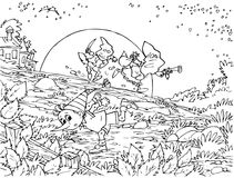 Pinocchio and two robbers. Black-and-white illustration (coloring page): Pinocchio (Buratino) cuts and runs from two robbers Stock Images