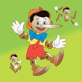Pinocchio; Wooden toy to take apart. Pinocchio with brush illustration; Wooden toy to take apart Stock Images