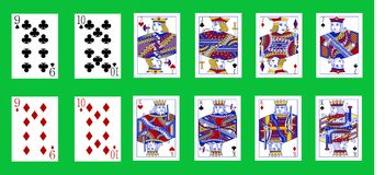 Pinochle cards deck. The beautiful pinochle cards deck in classic style stock illustration