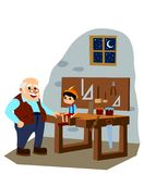 Pinocchio and Master Gepetto in the Carpenter Atelier. stock photos