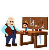 Pinocchio and Master Gepetto in the Carpenter Atelier. royalty free stock photo