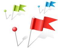 Pinos coloridos da esfera e da bandeira do vetor Fotos de Stock
