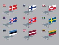 Pinos da bandeira - Nordic, Báltico fotos de stock