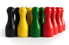 Pinos de boliches de madeira coloridos Imagem de Stock Royalty Free