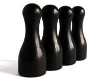 Pinos de boliches de madeira pretos Fotografia de Stock Royalty Free