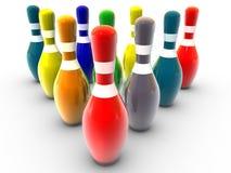 Pinos de bowling coloridos Fotos de Stock