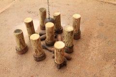 Pinos de madeira no castelo Kost imagem de stock royalty free