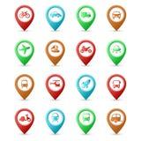 Pinos do mapa com ícones do transporte Foto de Stock Royalty Free
