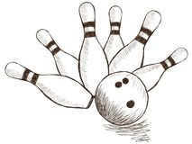 Pinos e bola de bowling ilustração stock