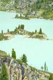 Pinos en la orilla de un lago glacial de la montaña Foto de archivo libre de regalías